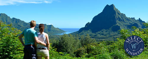 Couple taking in the view in Tahiti